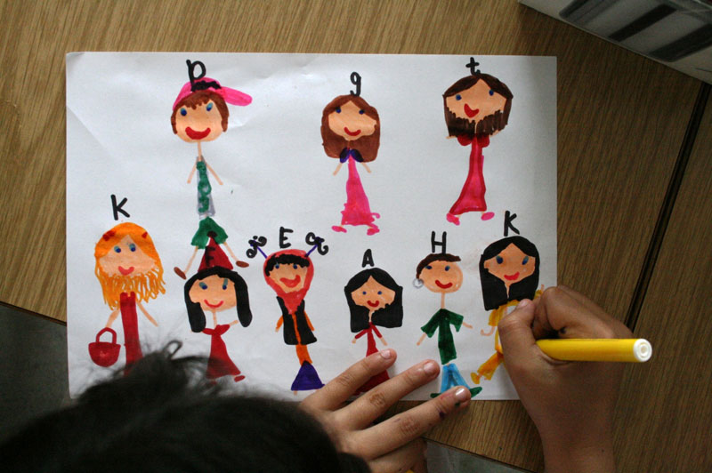 Foto af en børnetegning